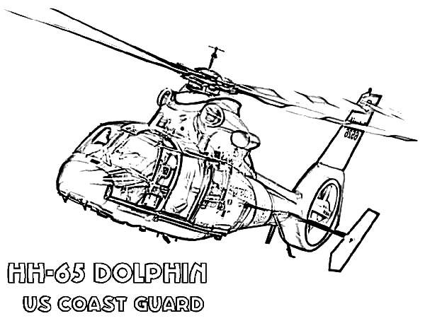 Helicopter, : Helicopter HH 65 Dolphin Coloring Pages