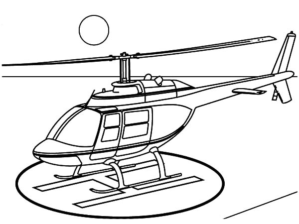 Helicopter, : Helicopter Landing on Helipad Coloring Pages