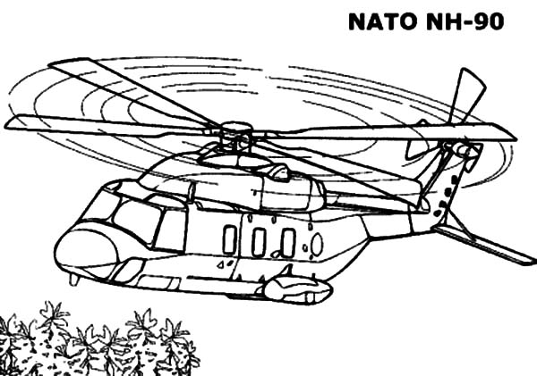 Helicopter, : Helicopter Nato NH 90 Coloring Pages