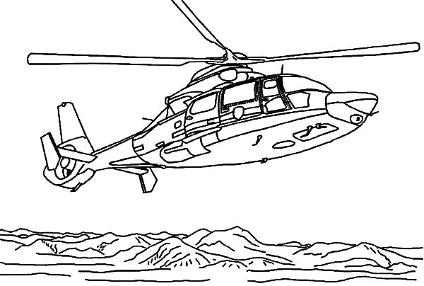 Helicopter, : Helicopter Rescue Saving People at Sea Coloring Pages