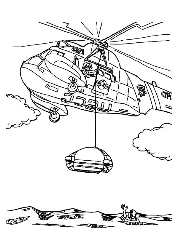 Helicopter, : Helicopter Saving Life at Sea Coloring Pages