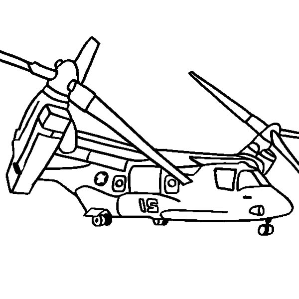 Helicopter, : Helicopter V 22 Osprey Coloring Pages