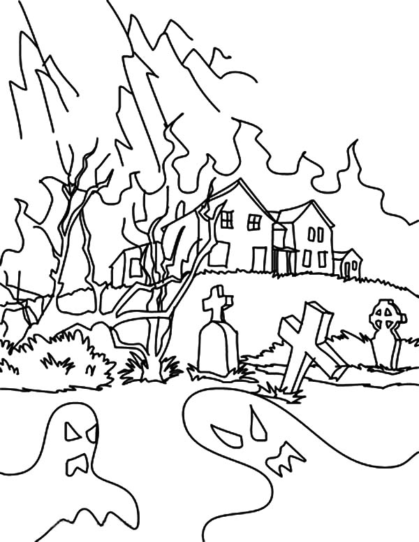 Haunted House, : Hideous Devil from Haunted House Coloring Pages