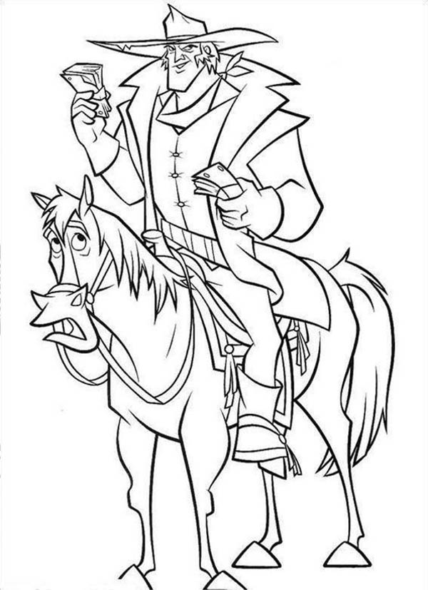Home On The Prairie, : Home on the Prairie Cowboy on the Horse Holding Money Coloring Pages