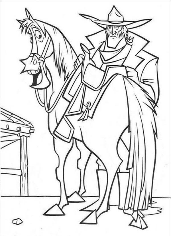 Home On The Prairie, : Home on the Prairie Old Cowboy and His Horse Coloring Pages