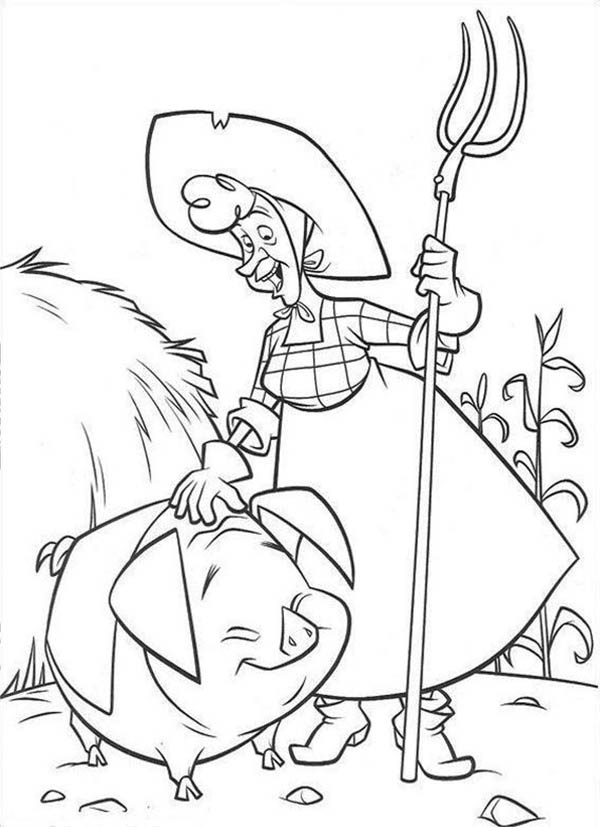 Home On The Prairie, : Home on the Prairie Old Lady and Cute Little Pig Coloring Pages