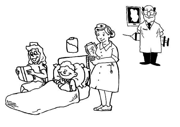 Health, : Hospital Place to Check Your Health Coloring Pages