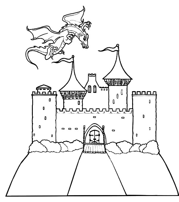 Haunted House, : House of Dragon Haunted House Coloring Pages