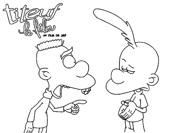 Titeuf, : Jean Ask for Titeuf Explanation Coloring Pages