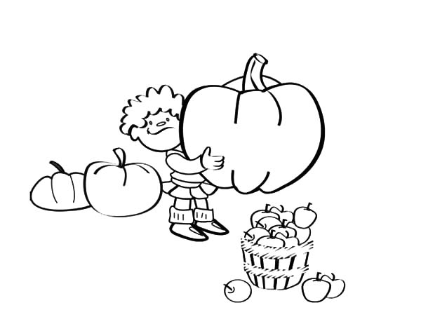Harvests, : Kid Hold Pumpkin from Harvests Coloring Pages