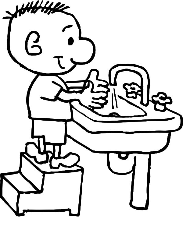 Hand Washing, : Kid Want to Washing Hand Coloring Pages