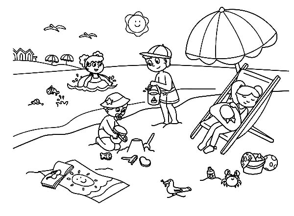 Hawaii, : Kids Enjoying Hawaii Beach Coloring Pages