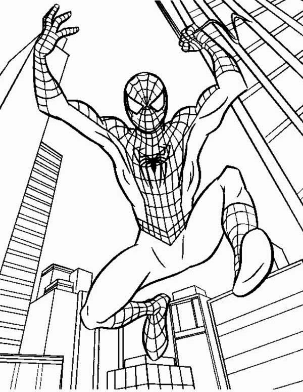 Spiderman, : Kids Hero Spiderman Coloring Page