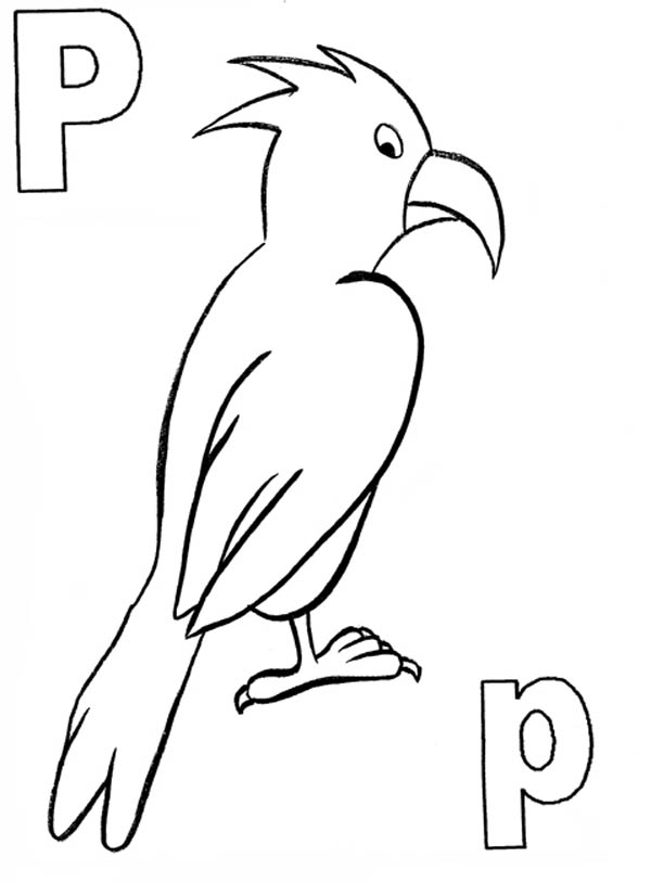 Letter p, : Kids Learn Letter P Coloring Page