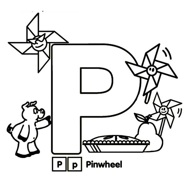 Letter p, : Kindergarden Kids Learn Letter P Coloring Page