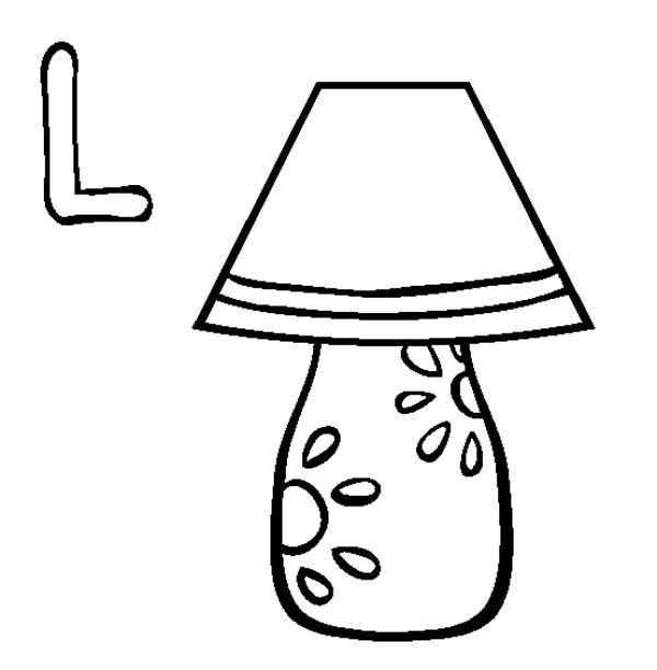 Letter l, : Lamp is for Letter L Coloring Page