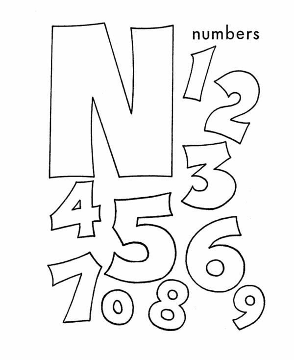 Letter n, : Learn ABC Letter N is for Numbers Coloring Page