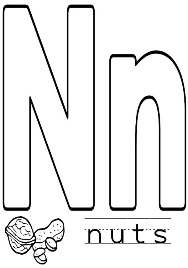 Letter n, : Learn Alphabet Letter N for Nut Coloring Page
