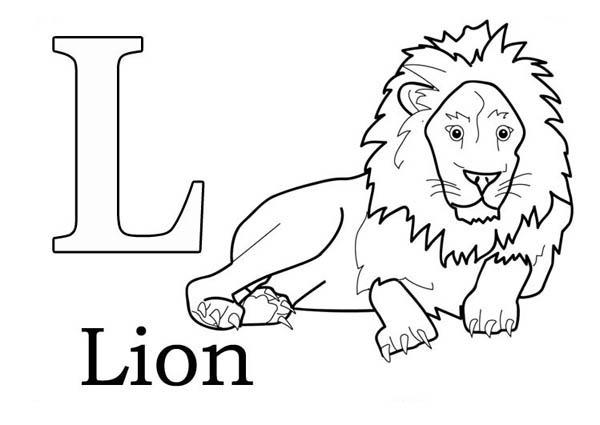 Letter l, : Learn Letter L for Lion Coloring Page