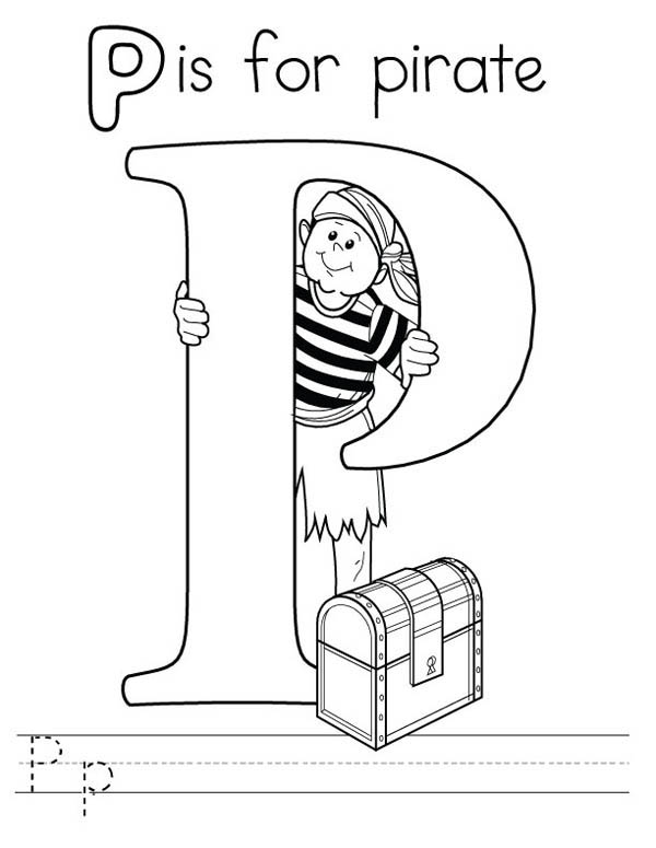 Letter p, : Learn Letter P is for Pirate Coloring Page
