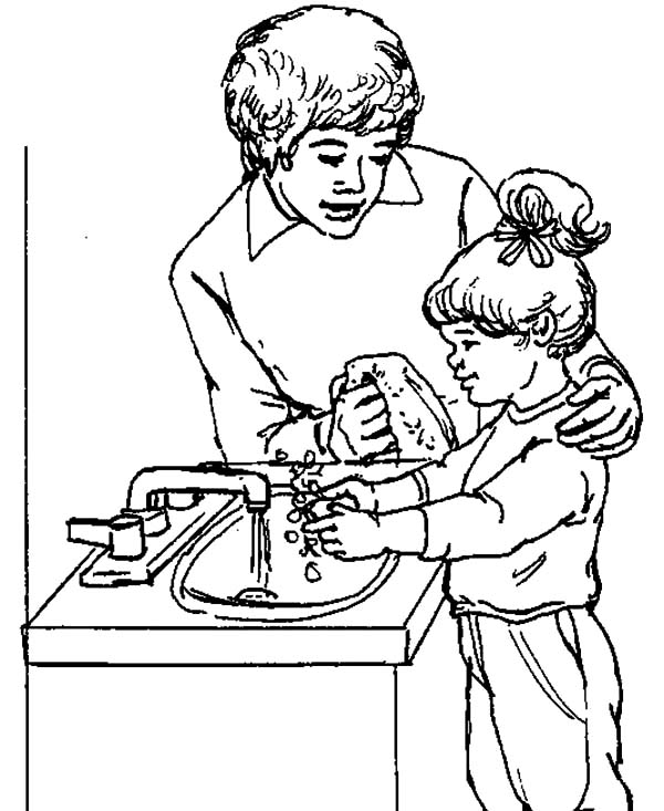 Hand Washing, : Learning to Washing Hand with My Mom Coloring Pages