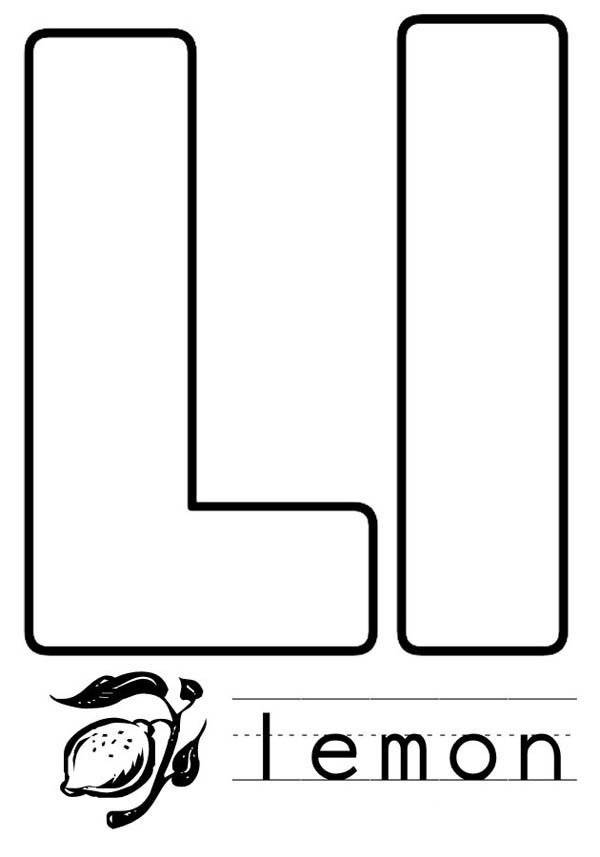 Letter l, : Lemon is for Letter L Coloring Page