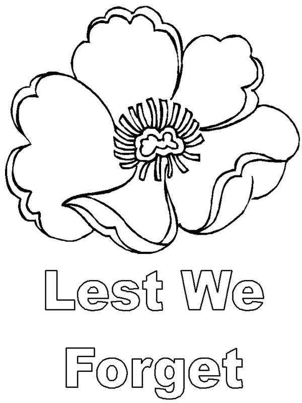 Remembrance Day, : Lest We Forget Remembrance Day Coloring Pages