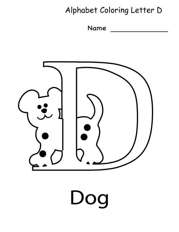 Letter D, : Letter D Coloring Page for Preschool Kids