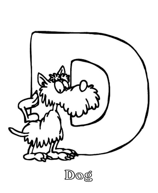 Letter D, : Letter D for Dog Coloring Page Animal Edition