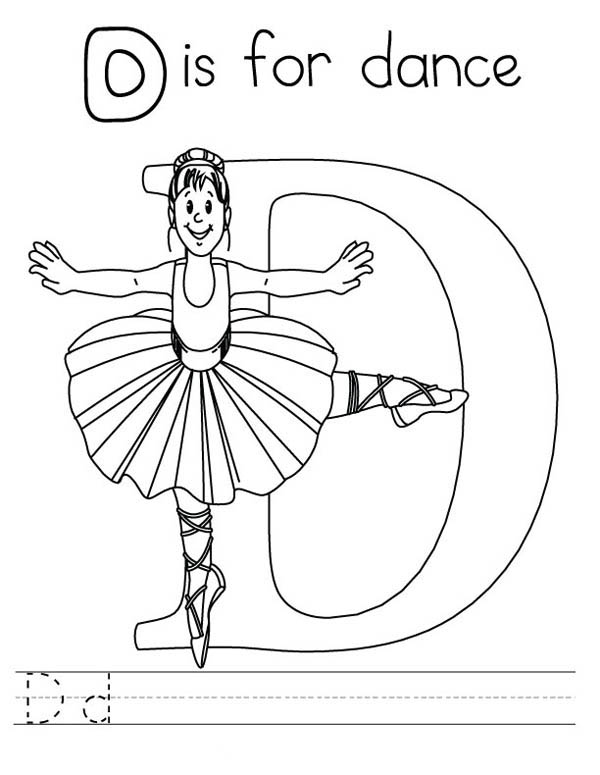 Letter D, : Letter D is for Dance Coloring Page