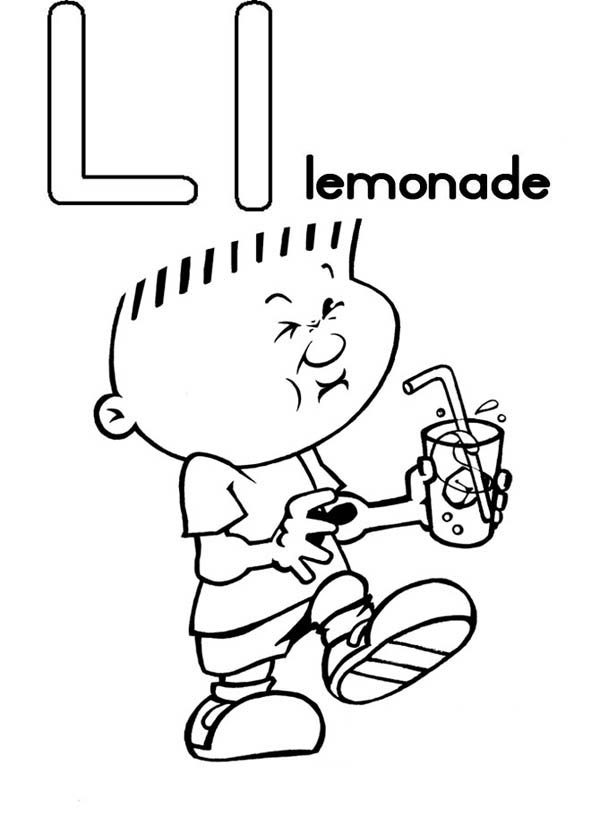 Letter l, : Letter L is for Lemonade Coloring Page