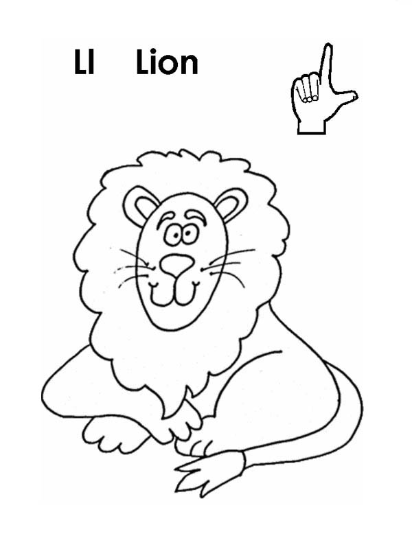 Letter l, : Letter L is for Lion Coloring Page
