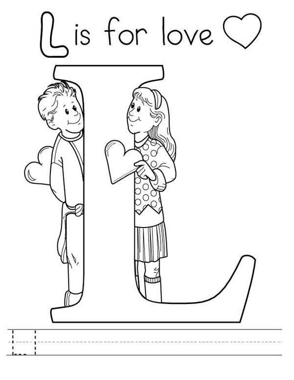 Letter l, : Letter L is for Love Coloring Page