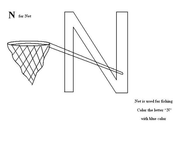 Letter n, : Letter N is for Net Coloring Page