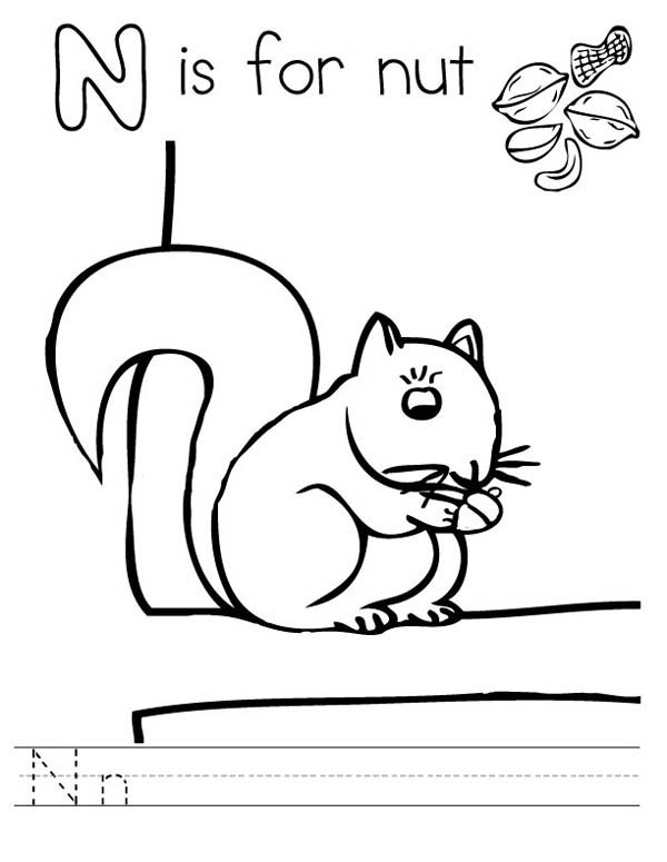 Letter n, : Letter N is for Nut Coloring Page