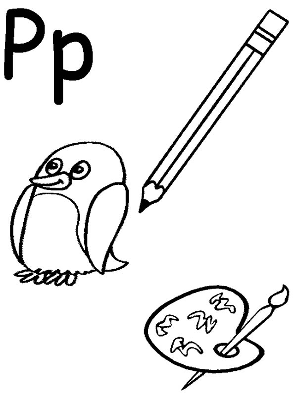 Letter p, : Letter P Words Coloring Page for Kids