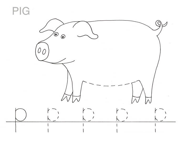 Letter p, : Letter P is for Pig Coloring Page