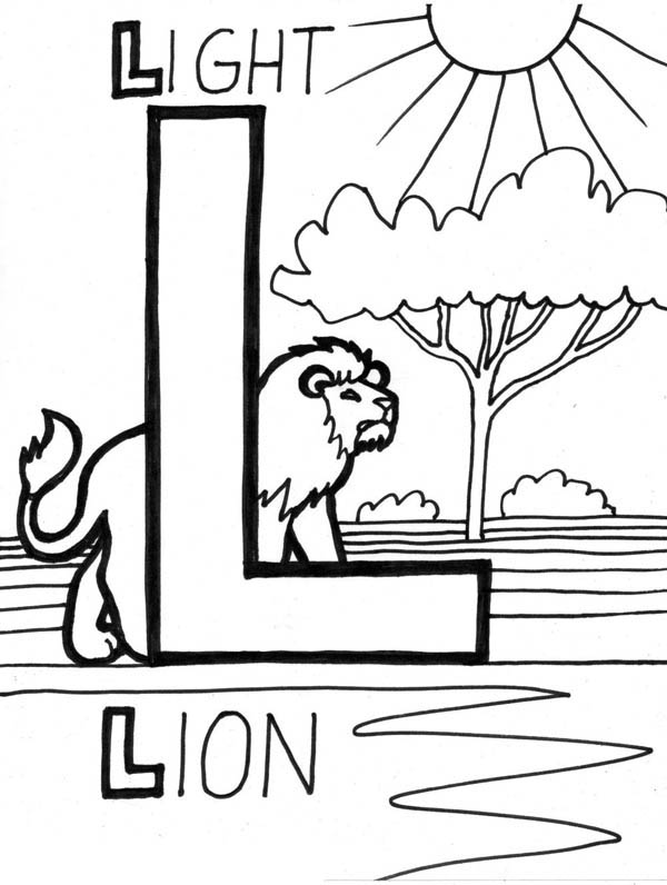 Letter l, : Lion and Light for Letter L Coloring Page