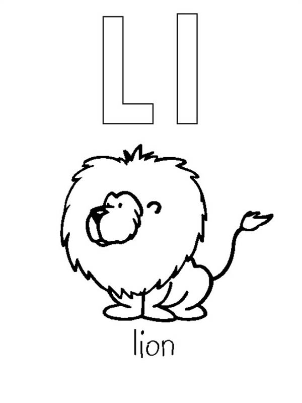 Letter l, : Lion from Letter L Coloring Page