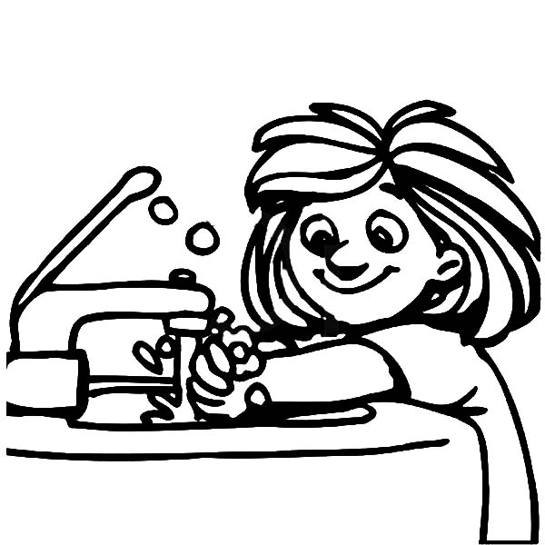 Hand Washing, : Litte Girl Washing Hand with Bubble Soap Coloring Pages