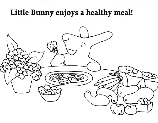 Healthy Eating, : Little Bunny Healthy Eating Coloring Pages