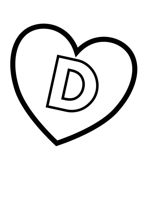 Letter D, : Love Letter D Coloring Page