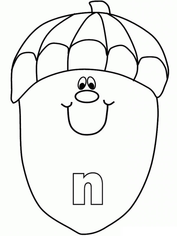 Letter n, : Lower Case Letter N Coloring Page