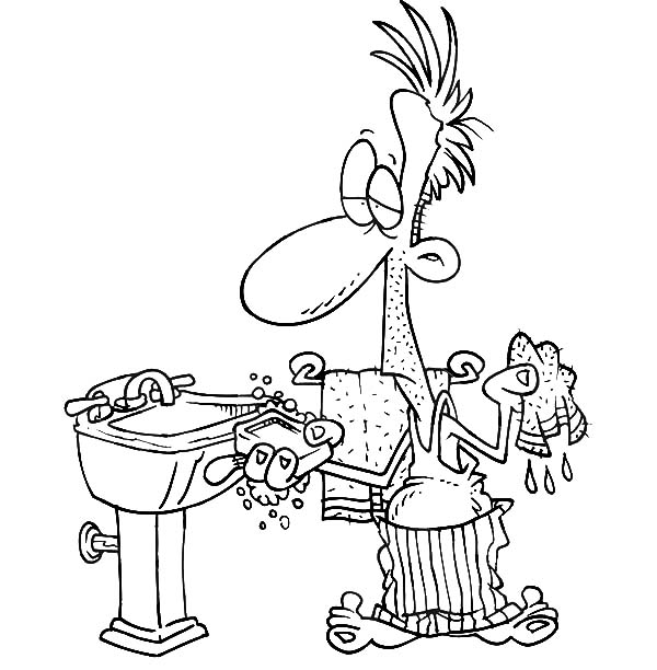 Hand Washing, : Man Washing His Hand with Soap Coloring Pages