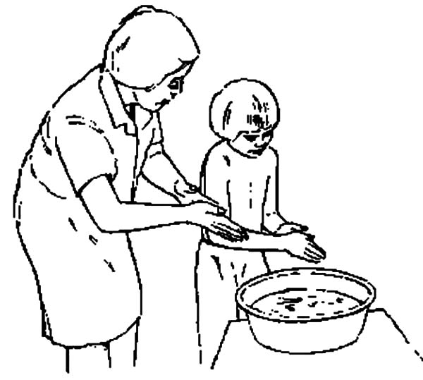 Hand Washing, : Mother Teach Her Kid How to Washing Hand Coloring Pages