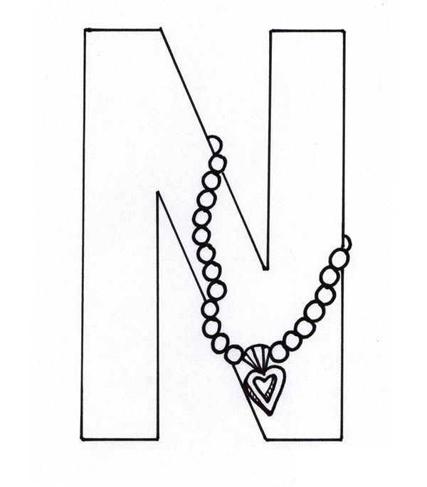 Letter n, : Necklace from Letter N Coloring Page