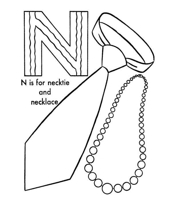 Letter n, : Necktie and Necklace for Letter N Coloring Page
