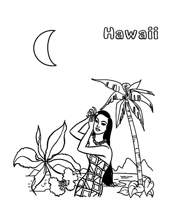 Hawaii, : Night at Hawaii Coloring Pages
