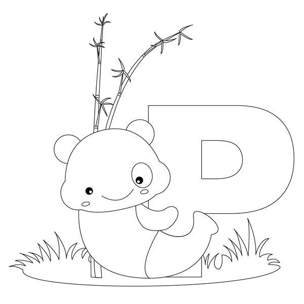 Letter p, : Panda for Letter P Coloring Page