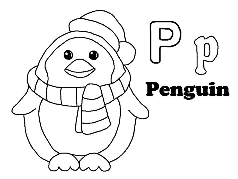 Letter p, : Penguin for Letter P Coloring Page